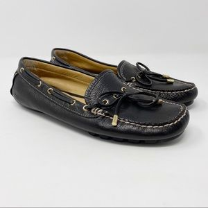 COACH Patrice Genuine Leather Flats Black 8.5